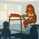 Illustration shows a large, young girl looking forlorn in a classroom next to her smaller-sized classmates.