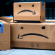 Cardboard boxes made to resemble Amazon.com Inc. packages during a protest outside the home of Amazon Chief Executive Officer Jeff Bezos in New York on Dec. 2, 2020.