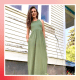 Illustration of Katie Jackson wearing a green maxi dress from Amazon
