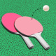 Ping pong paddles on green background
