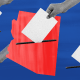 Photo illustration: A hand dropping a ballot into the state map of Arizona along with multiple hands dropping ballots outside the map.