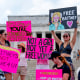 """Image: Fans and supporters of pop star Britney Spears protest at the Lincoln Memorial, during the \""""Free Britney\"""" rally on July 14, 2021, in Washington."""