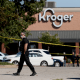 Image: Emergency personnel respond to a shooting at a Kroger supermarket in suburban Memphis