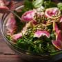 Spinach and Arugula Salad with Mushrooms and Farro Salad