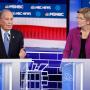 Image: Democratic presidential candidate, former New York City Mayor Mike Bloomberg speaks as Sen. Elizabeth Warren, D-Mass., looks on during a Democratic presidential primary debate
