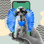 Illustration of dog with wings on a phone screen