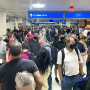 Travelers with Southwest Airlines delayed at Phoenix Sky Harbor International Airport reportedly due to computers being down, on June 14, 2021.