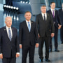 Image: President Joe Biden and other NATO heads of the states and governments pose for a family photo during the NATO summit at the Alliance's headquarters, in Brussels, Belgium