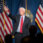 Image: Former Vice President Mike Pence waves after addressing the GOP Lincoln-Reagan Dinner on June 3, 2021 in Manchester, N.H.