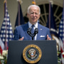 President Joe Biden speaks during an event marking the 31st anniversary of the Americans with Disabilities Act (ADA) in the Rose Garden of the White House on July 26, 2021.