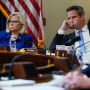 Rep. Liz Cheney, R-Wyo., and Rep. Adam Kinzinger, R-Ill., listen as Rep. Elaine Luria, D-Va., speaks during the House Select Committee investigating the January 6 attack on the U.S. Capitol on July 27, 2021.