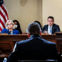 Rep. Liz Cheney, R-Wyo., and Rep. Adam Kinzinger, R-Ill., listen as Washington Metropolitan Police Department officer Michael Fanone testifies during the House select committee hearing on the Jan. 6 attack on Capitol Hill on July 27, 2021.