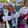 Afghan women activists protest against Taliban restrictions in Kabul
