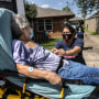A daughter speaks to her mother with possible Covid-19 symptoms before she was taken to a hospital on Aug. 20, 2021 in Houston, Texas.