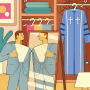 Illustration of a man putting on a suit while his pastor robes hang in a closet with cobwebs and flies.