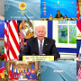 President Joe Biden addressing a virtual summit of the Association of Southeast Asian Nations on Oct. 26, 2021. Myanmar was represented by an empty box after the leader of the military-ruled nation was excluded from the summit.