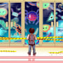 Illustration of a young boy in a backpack outside of the closed doors of a school with evil, digitized creatures inside.