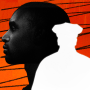 Photo illustration of a Black man's head next to a white silhouette of a police officer with scribbles.