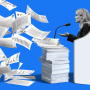 Illustration of Frances Haugen, the Facebook whistleblower, speaking into a microphone as papers with Facebook data fly off a stack.