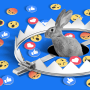 Illustration of a rabbit coming out from a hole in the ground covered by a bear trap with Facebook emojis scattered across the ground.