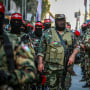 Masked armed militants during a rally organized by the Popular Front for the Liberation of Palestine (PFLP), in Gaza City on June 2, 2021.