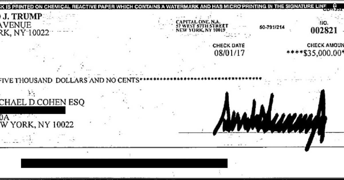 Here Are The Two  35 000 Checks Cohen Will Provide