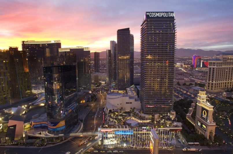 Image: The Cosmopolitan of Las Vegas is shown at sunset in Las Vegas