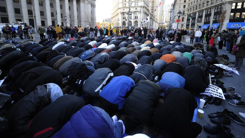 Image: Muslims pray in New York square