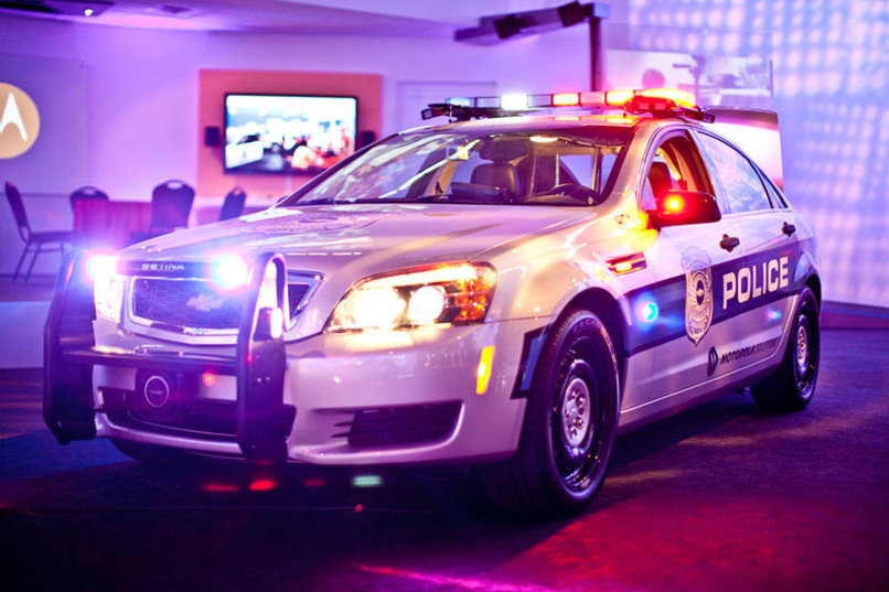 Police car in show room