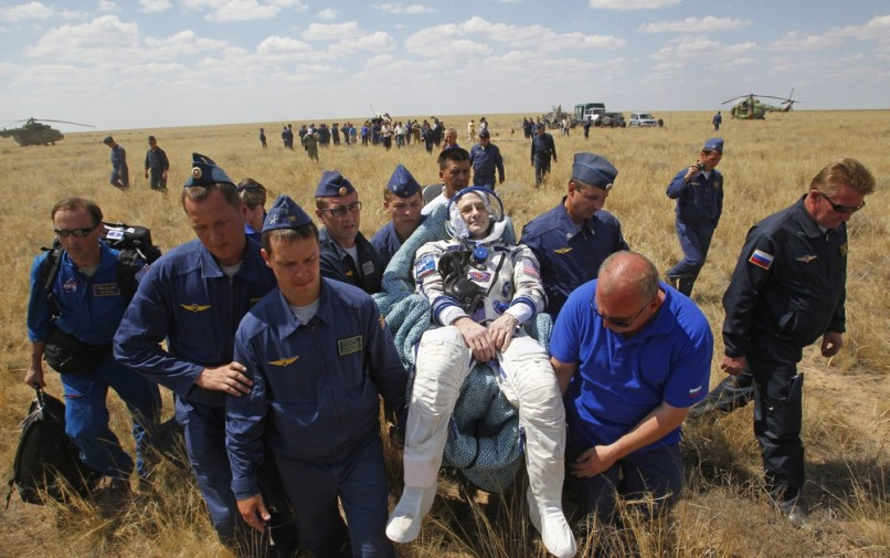 Image: Donald Pettit carried by Russian space agency rescue team