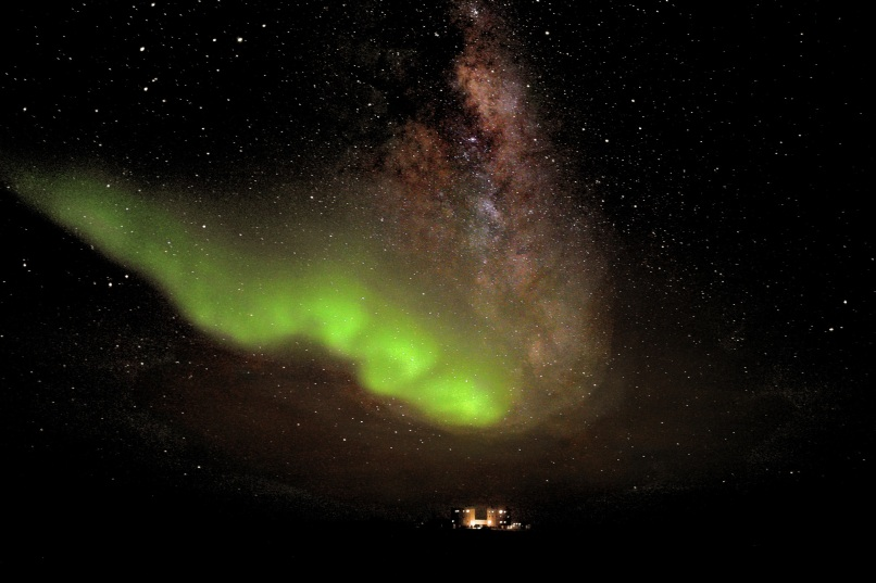 Ethereal green glow of Aurora Australis in Antarctica