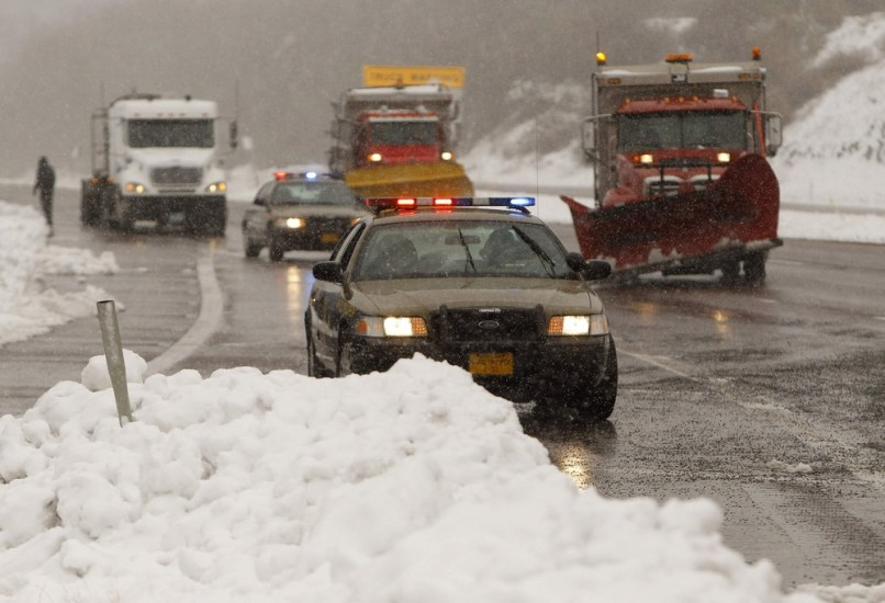 Image: Snowplows open Interstate 68 in Garrett County in western Maryland