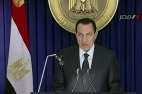 Image: Egypt's President Hosni Mubarak addresses the nation