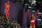 Image: Sanya Richards-Ross of the U.S. celebrates after she won gold in the women's 400m final during the London 2012 Olympic Games at the Olympic Stadium