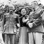 Image: July 1942:  Chinese Nationalist military leader Generalissimo Chiang Kai-Shek with Madame Chiang and US Lieutenant General Joseph W Stilwell