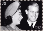 Anniversary stamps issued to celebrate the 60th anniversary of the wedding of Princess Elizabeth to Lieutenant Philip Mountbatten RN.