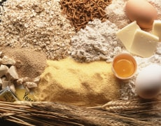 Image: Eggs, flour, bread, butter, wheat, oatmeal, bran and cornmeal.