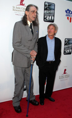 Image: Actors Peter Mayhew and Harrison Ford