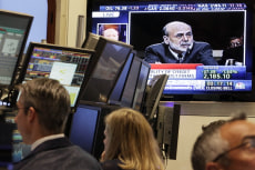 Image: Ben Bernanke on TV at NYSE