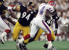 Image: Defensive lineman Jeremy Staat #94 of the Pittsburgh Steelers in action, 1998