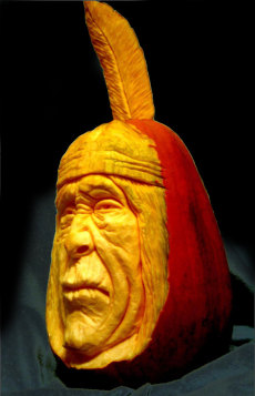 Image: Pumpkin carving of a Native American