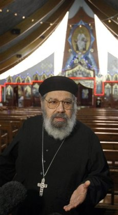 Image: Father inside Coptic church