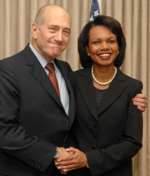 Image: Ehud Olmert and Condoleezza Rice