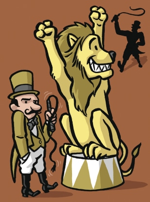 Image: Lion and circus trainers