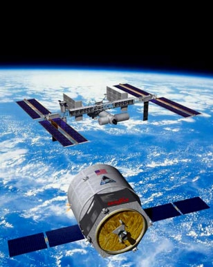 Artist rendering of Cygnus spacecraft approaching the international space station.
