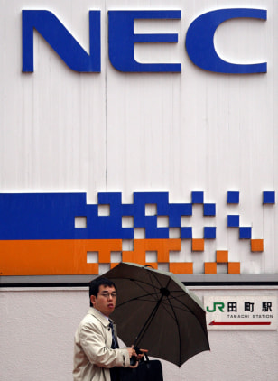 Image: NEC corporate logo in Tokyo