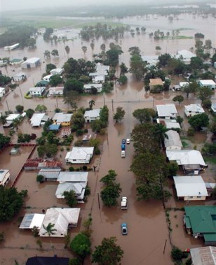 Image: Flooded town in Queensland