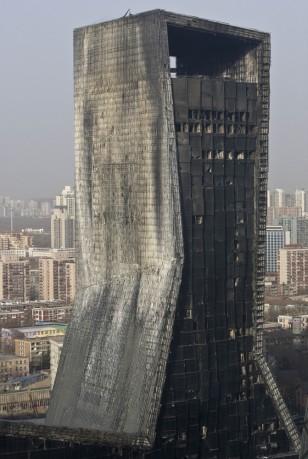 Image: damaged Mandarin Oriental hotel building