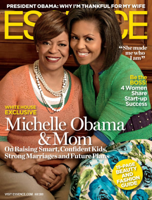 Image: Cover of Essence magazine showing Michelle Obama and her mother