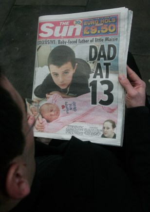 Image: Alfie Patten, baby on newspaper cover